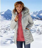 Women's Grey Water-Repellent Parka with Faux-Fur Hood preview1