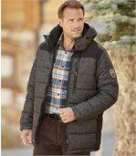 Men's Dual-Colour Padded Sports Jacket - Black Grey