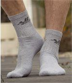 Pack of 5 Pairs of Men's Sports Socks - Grey White Navy Blue Anthracite Grey preview2