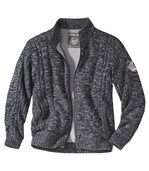 Men's Knit Zip-Up Jacket with Fleece Lining - Black Grey