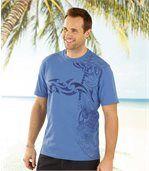 Pack of 2 Men's Maori Tattoo Print T-Shirts - Blue White