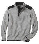 Men's Grey Knitted Jumper with Zip-Up Collar preview2