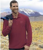 Pack of 2 Men's Cotton Pique Tops - Burgundy Navy Blue