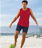 Pack of 3 Men's Coloured Vests - Red Blue Navy Blue preview2