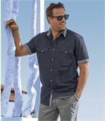 Men's Anthracite Stylish Canvas Shirt preview1