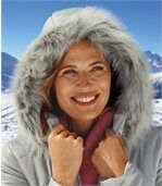 Women's Grey Water-Repellent Parka with Faux-Fur Hood preview4