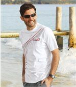 Pack of 3 Men's Patterned T-Shirts - White Black Red preview2