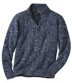 Men's Blue Cable Knit Jumper - Wool preview2