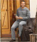 Gestreifter Pyjama aus Baumwolle mit Henleykragen preview1