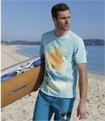 Men's Turquoise Printed Pacific Surf T-Shirt