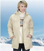 Women's Cream Parka Coat  preview1