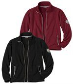 Pack of 2 Men's Microfleece Jackets - Black Dark Red  preview1