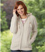 Pletený svetrík na zips s kapucňou preview1