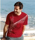 Pack of 3 Men's Patterned T-Shirts - White Black Red preview3