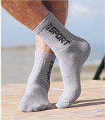 Pack of 5 Pairs of Men's Sports Socks - Grey White Black