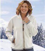 Women's Ecru Sherpa-Lined Fleece Jacket preview2