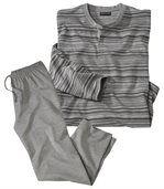 Prúžkované bavlnené pyžamo preview2