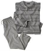 Gestreifter Pyjama aus Baumwolle mit Henleykragen preview2