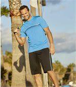 Pack of 2 Men's Summer Sport Bermuda Shorts - Black Blue