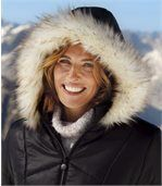Women's Black Padded Coat with Faux Fur Hood preview5