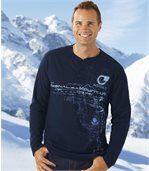 Pack of 2 Men's Long Sleeve Tops - Navy Blue Taupe