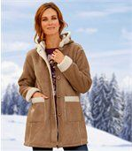 Manteau Femme Marron Suédine doublé Sherpa preview1
