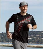 Pack of 3 Men's Patterned T-Shirts - White Black Red preview4