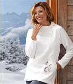 Women's White Jumper - Fleece and Knit - Shawl Collar preview1
