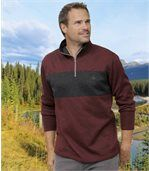 Pack of 2 Men's Brushed Fleece Jumpers - Navy Burgundy preview2