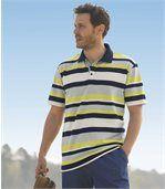 Men's Striped Sporty Polo Shirt - Grey Ecru Navy Green