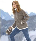 Women's Grey Faux Suede Jacket with Sherpa Lining preview2