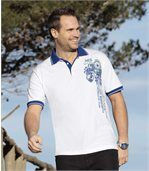 Men's White Polo Shirt with Blue Collar
