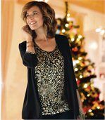 Women's Black Mock Top And Cardigan preview1