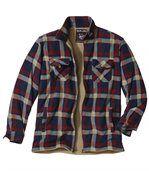 Geruit fleece-overhemdjack met microsherpavoering preview2