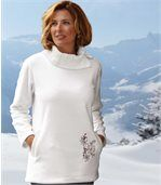 Women's White Jumper - Fleece and Knit - Shawl Collar preview2
