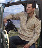 Pletený outdoorový svetr zateplený fleecem preview1