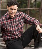 Men's Red Rodeo Ranch Flannel Check Shirt