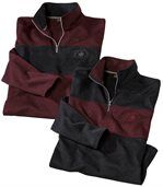 Pack of 2 Men's Brushed Fleece Jumpers - Navy Burgundy preview1