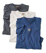 Set of 3 Men's Button Neck T-Shirts - Cotton preview1
