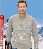 Men's Beige Half Zip Jumper - Brushed Fleece preview1