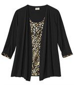 Women's Black Mock Top And Cardigan preview2