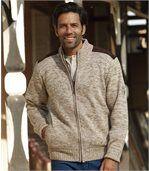 Pletený outdoorový svetr zateplený fleecem preview2
