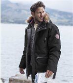 Men's Black Parka Coat with Fur Hood – Winter Chill preview1
