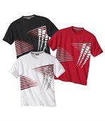Pack of 3 Patterned T-Shirts - White Black Red preview1