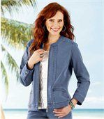 Women's Blue Stretch Denim Jacket preview1