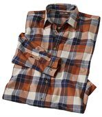 Men's Stylish Long Sleeve Checked Shirt - Orange Navy Ecru preview2
