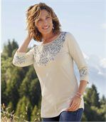 Women's Beige Boat Neck Top - Patterned Neckline preview1