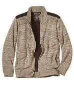 Pletený outdoorový svetr zateplený fleecem preview3