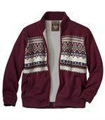 Pletená bunda sžakárovým vzorem zateplená fleecem preview2