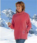 Dlouhý svetr z úpletu a fleecu preview1